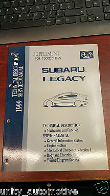 1999 Subaru Legacy Service Technical Workshop Manual OEM Rare Collectible Saloon