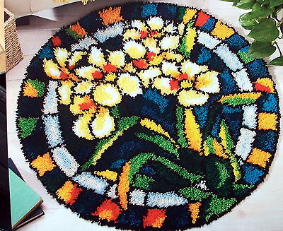 """Latch Hook  Rug Kit   """"white Orchid Stained Glass Rug"""""""