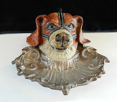 Hand Painted Austrian Bronze Dog Ink Well Inkwell with Glass Eyes