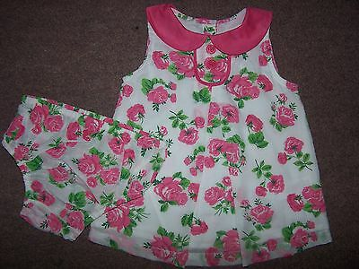 BABY GIRLS EX MINI BODEN ROSE DRESS AND KNICKERS SET 3-6 months