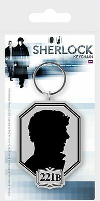 Sherlock Holmes Benedict Cumberbatch Shadow Silhouette Rubber Keyring Official