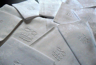 French Damask Tablecloth with 12 Napkins Vintage Hand Embroidered