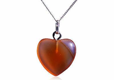 Gorgeous Agate Heart Necklace -On Solid Silver Chain - NEW AND ELEGANT!