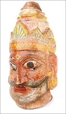 Striking Antique Hand-Carved and Polichromed Mask. South of Asia, Circa 1900