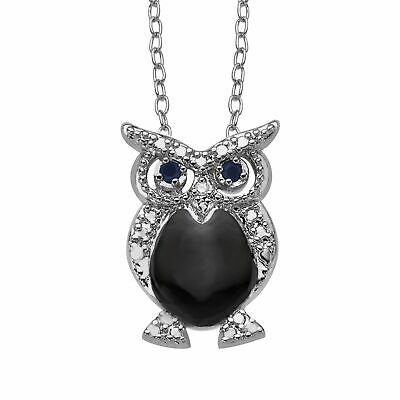 Owl Pendant with Natural Sapphires & Diamond in Sterling Silver-Plated Brass