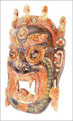Great Hand-Carved and Polichromed Wooden Mask. South of Asia, circa 1900