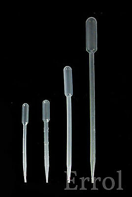Set of 4 Pipettes. 0.5ml 1ml 3ml and 5ml. One of Each Graduated Plastic Pipettes