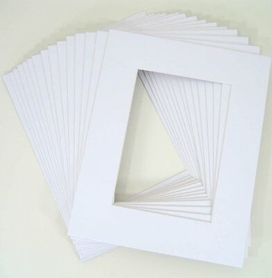 Pack of 25 11x14 WHITE Picture Mats with WhiteCore for 8x10 +Backing +Bags