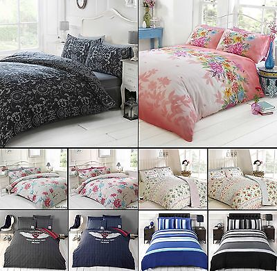 Duvet Cover with Pillow Case Quilt Cover Bedding Set Single Double King Sizes