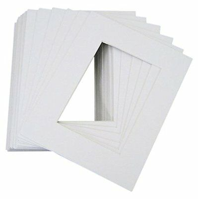 Pack of 25 8x10 WHITE Picture Mats with WhiteCore for 5x7 Photo +Backing +Bags