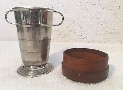 Vtg Folding Travel Cup w Leather Case Collapsible Glass Signed R Made in Germany
