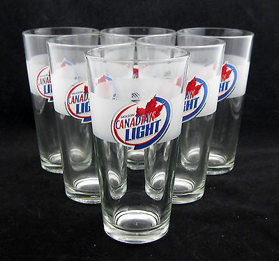 SET of 6 NEW 20oz MOLSON CANADIAN LIGHT PINT SIZED BEER ADVERTISING GLASSES