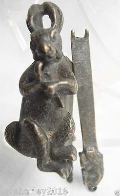 Rare Chinese old style Brass Carved Rabbit padlock lock and key