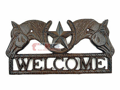 Rustic Western Cast Iron Welcome Plaque Horses Texas Star Lucky Horseshoe Decor
