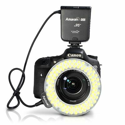 Aputure Amaran HN100 LED Macro Ring Flash Light 8 Mount 100 LEDs for DSLR Camera