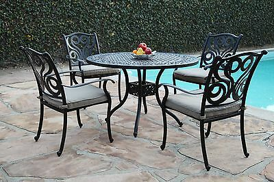 Sensational New Perris Collection Cast Aluminum Outdoor Patio Furniture 5 Piece Dining Set G Home Interior And Landscaping Eliaenasavecom