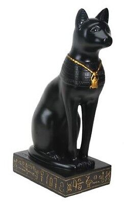 Bastet Egyptian Cat Figurine Statue with Scarab Necklace 8.5H T84520
