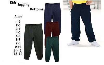 Boys Girls Childrens Kids School Jogging Tracksuit Bottoms Trousers 1-14