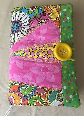 Fabric Book Cover, Paperback, Kindle - Quilted Patchwork, Yellows Pinks & Greens
