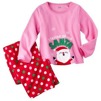 ee71cc7ff CARTERS GIRLS 3T Pink Flannel Santa Christmas Pajamas Set Size 3 ...