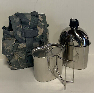 G.I. Style Stainless Steel 1qt. Canteen with Cup and Vented LID.