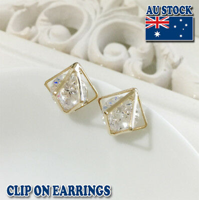 18CT Gold Plated Clip On Earrings With Big Clear Swarovski Crystal