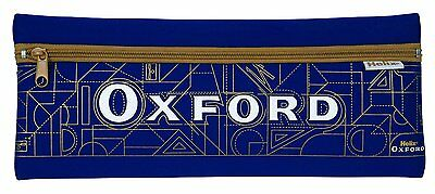 Helix Oxford Extra Long Flat Pencil Case Blue Neoprene Gold Patterns