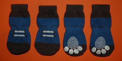 Non-Slip Dog Socks Blue Runner - Small, Medium, Large & XL (3.5kg to 30kg)