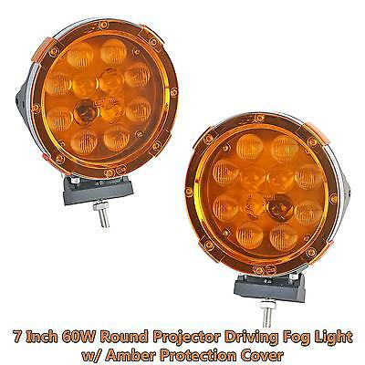 "2x 7"" 60W Round Flood Spot Combo Beam LED Work Light Driving Lamp w/ Amber Cover"