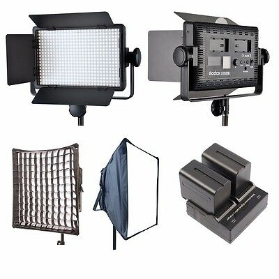 Godox LED500 C 3300K-5600K LED Video Light Lamp Panel + Softbox + 2x NP-F970