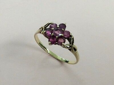 Vintage 9Ct Gold & Ruby Flower Ring 1981
