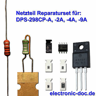 9-teiliges Netzteil-Reparaturset 2SK4101 + ICE3BS03LJ + SMD f. DPS-298CP PHILIPS