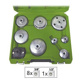 9pc Oil Filter Cup Remover Wrench Set Universal Audi Vauxhall Ford & Many More