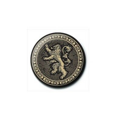Game Of Thrones Lannister Lion Black Gold Pin Badge Button Brooch Official