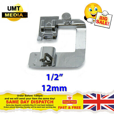 """Wide ROLLED HEM 1/2"""" Hemmer Foot For Domestic Sewing Machines Snap on Presser"""