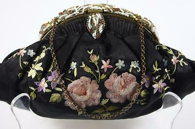 Antique French Enamel Framed Evening Embroidery Purse Hand Bag
