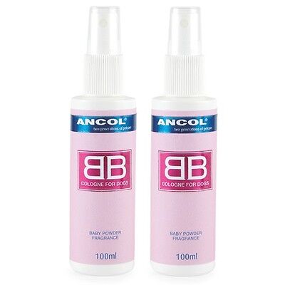 Ancol BB Baby Powder Dog Cologne 2 x 100ml Spray Bottle Perfume Twin Pack