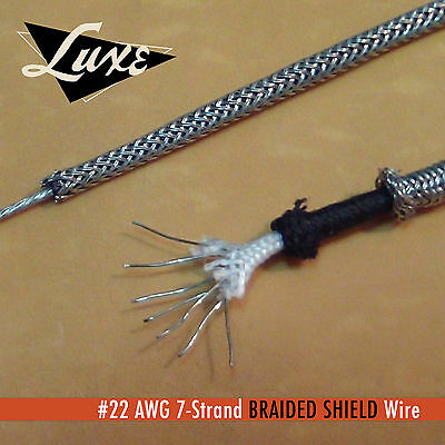 #22 AWG Cloth 7-Strand Copper Hook-Up Wire BRAIDED METAL SHIELD