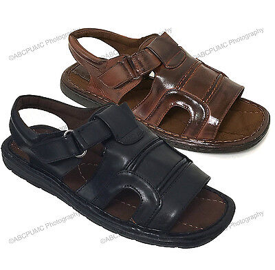 a9ec316bf4ad Mens Fisherman Sandals Hook and Loop Open Toe Casual Slippers Summer Shoes  Sizes