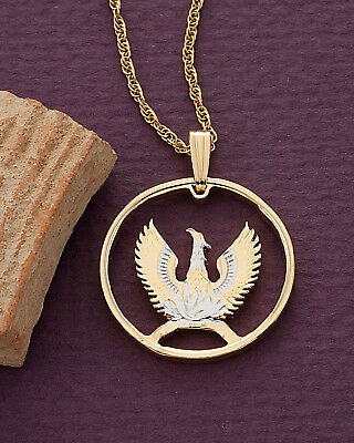 """Greek Phoenix Pendant and Necklace, Hand Cut Greek Coin,7/8"""" in Dia., ( # 861 )"""