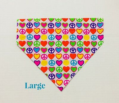Peace Signs Rainbow Yellow Over Collar Slide On Pet Dog Bandana Scarf
