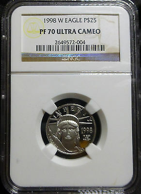 1998-W $25  American Platinum Eagle 'NGC Graded 70 Ultra Cameo'