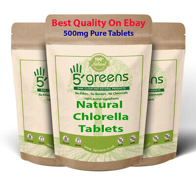 Organic Chlorella 500mg Tablets - Cracked Cell Wall (Heavy Metal Detox) 5greens