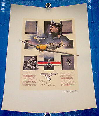 1991 signed print General ADOLF GALLAND German fighter ace Nicolas Trudgian art