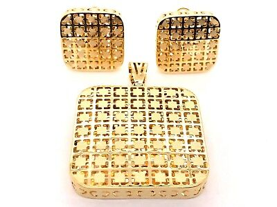 18K Yellow Gold Italian Fancy Square Shape Earrings and Pendant Set 15 grams