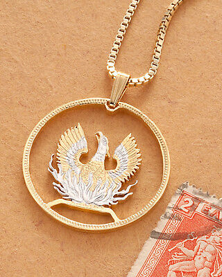 """Greek Phoenix Pendant and Necklace, Hand Cut Greek Coin,1 1/8"""" in Dia. ( # 924)"""
