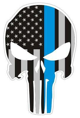 Punisher Thin Blue Line Police Decal / Sticker #202