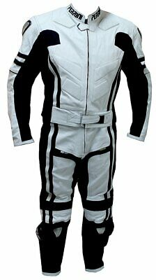 2pc Perrini Ghost Motorcycle Racing Leather Suit with Metal Waist Zipper w/ Hump