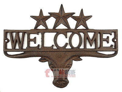 Rustic Western Longhorn Steer Cast Iron Welcome Texas Stars Plaque Sign Decor