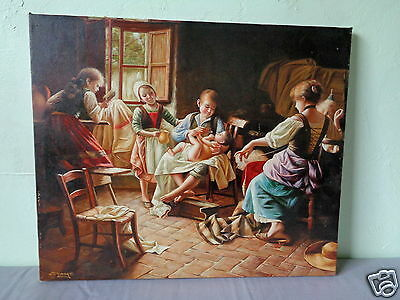 Vintage Signed Mystery Artist Peasant Mother & Baby Children Art Canvas Painting